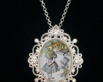 Alice in Wonderland Postage Stamp Necklace
