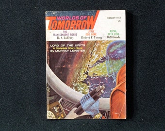 Worlds Of Tomorrow Magazine for February 1964 Vintage Fantasy Science Fiction Horror Pulp! SCARCE!