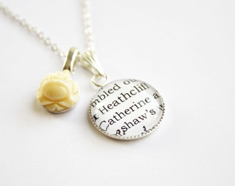 Wuthering Heights & Jane Eyre page necklace. Brontë. Heathcliff. Rochester. Literature. Booklovers