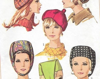 Vintage 1950s Simplicity Sewing Pattern 7326- Misses' Set of Hats in one size