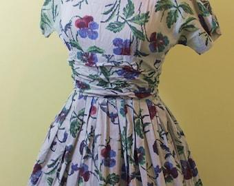Pretty Cross Stitch Print 1950's Dress