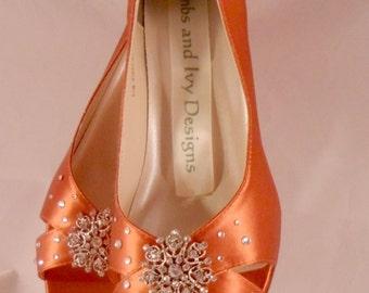 Burnt Orange Low Heel Open Toe Wedding Shoes, Swarovski Crystals Criss Cross Sandals