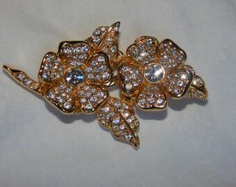 Vintage Joan Rivers Brooch Gold Tone Clear Rhinestone Brooch Clip on Earrings Set Signed Joan Rivers
