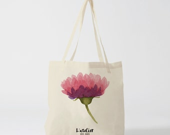 Tote bag purple flower, bag Tote, handbag, bag diaper, cotton bag, bag races, bag course, bag Beach, shopping bag