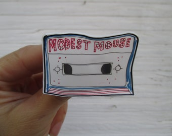 modest mouse pinback . cassette tape brooch . indie rock pin . cute music broach . music fan . gift . hand made . shrink plastic