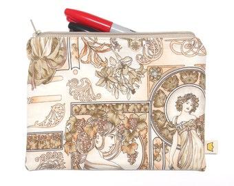 Art nouveau pencil case, zippered pouch for artists and art lovers, artistic zipper pouch