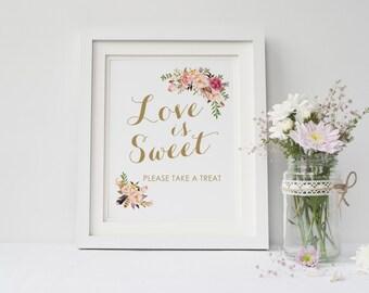 Love is sweet sign printable,Wedding take a treat sign, Boho love is sweet please take a treat wedding sign printable, The Mia collection