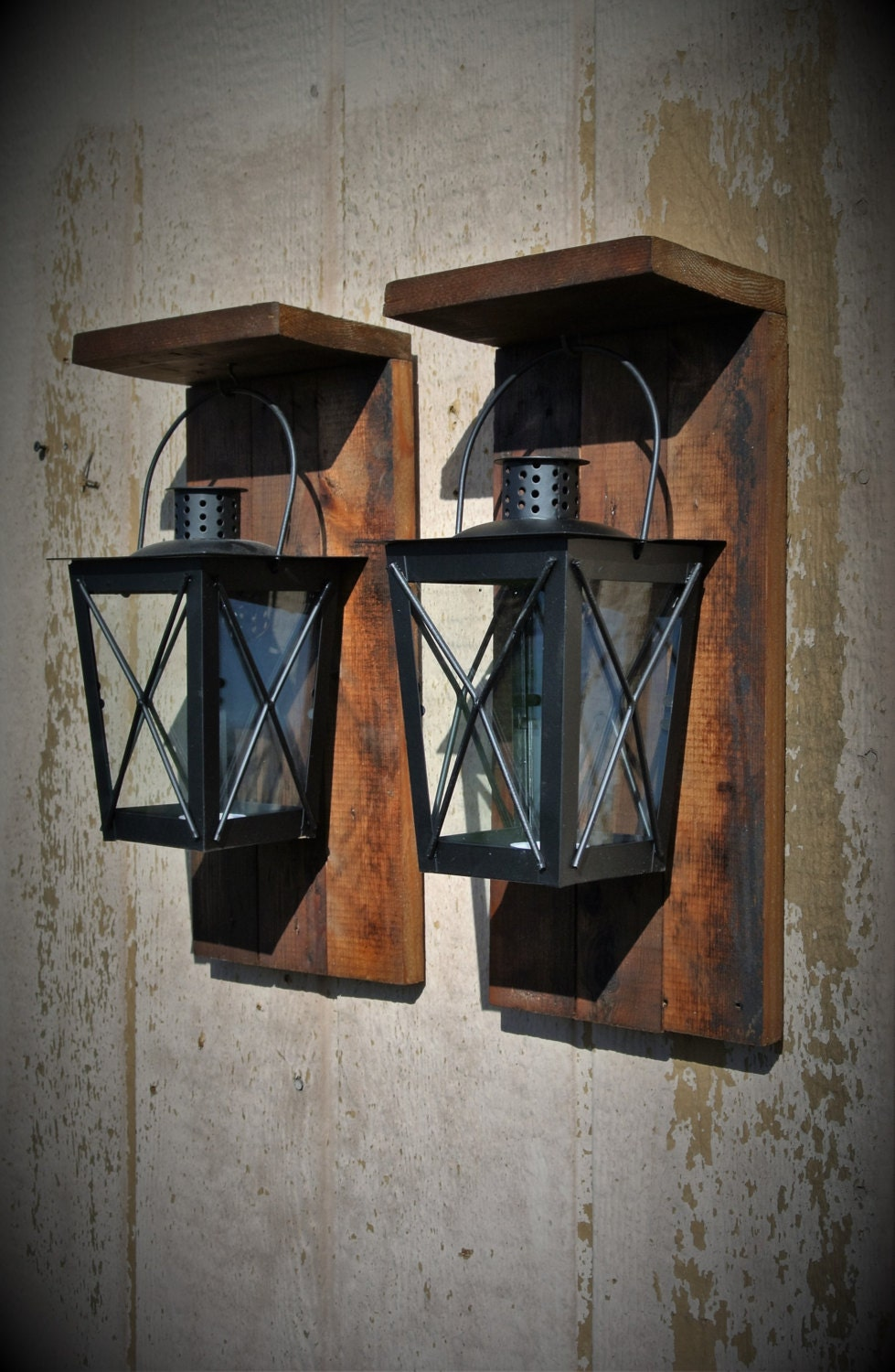 Rustic Wall Sconces Reclaimed Wood Candle Lanterns Farmhouse