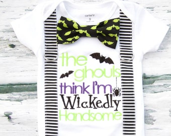 Baby Boy The Ghouls think I'm wickedly Handsome Halloween Onesie Suspender and bow tie Baby boy first Halloween Boy funny Halloween onesie