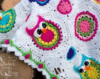 Owl Afghan, Crocheted Owl Afghan, Owl Baby Blanket, Owl Shower Gift, Baby Girl Owl Blanket, Flower Blanket, Flower Border Owl Baby Blanket
