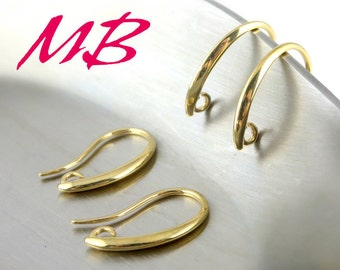 12 pcs Gold Plated Ear Wires, Fish Hook