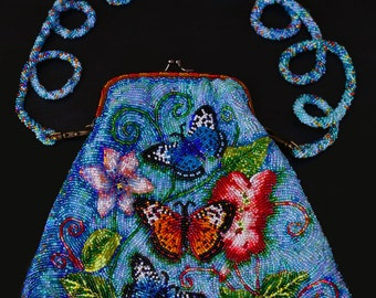 Beaded purse with butterflies