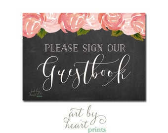 Guestbook Sign / Wedding Guestbook Printable / Chalkboard Printable INSTANT DOWNLOAD