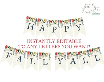 Fall Banner Instant Download, Happy Fall Yall Banner Printable , Fall DIY Banner , Banner diy , Baby Shower Banner DIGTAL FILE
