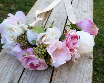 BLUSH PINK & IVORY Flower Crown Wedding Headband  with Silk Roses, Peonies, Lisianthus and Ivy Berry