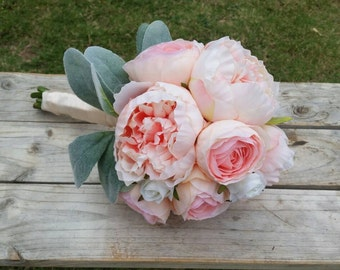 PINK PEONY Ranunculus and Rose with Lambs Ear Silk Wedding Bouquet Bridal made with Silk Peony & Ranunculus Flowers Rustic