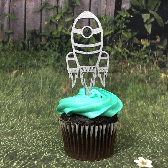 Spaceship Cupcakes, Spaceship Toppers, Space Birthday Party, Rocket Ship Toppers, Rocket Birthday, Blast Off Party, Cupcake Toppers