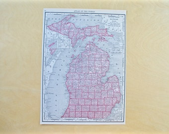 1913 - Michigan Map - Large Antique Map - Beautiful Old Map of Michigan - Large Vintage Map - Colorful Atlas Map - Gift - Home Decor