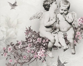 Two (2) Cherubs, Angels, Pink Flowers, Gray Background, Luncheon Napkins for Decoupage and Paper Crafts