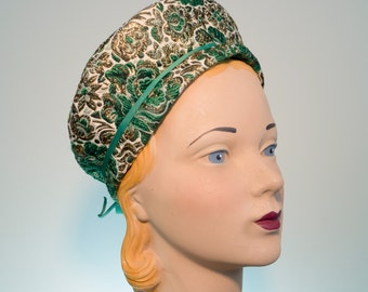 Glamorous 1960s Hat - Green and Gold Brocade Cap