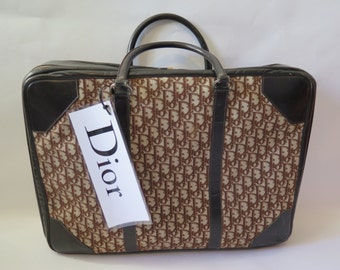 Dior Vintage Trotter Monogram Soft Side Suit Train Case Carry On Luggage