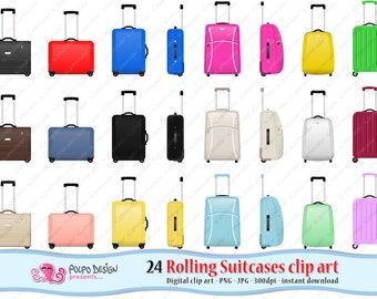 Rolling Suitcase clipart. Digital Rolling Luggage clipart, Suitcase clip art rolling luggage clip art travel bag wheeled bag luggage clipart