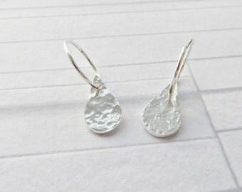 Silver teardrop hoops, Fine silver earrings, Silver dangle earrings, Hammered teardrop earring, Textured silver earrings, Made in the UK