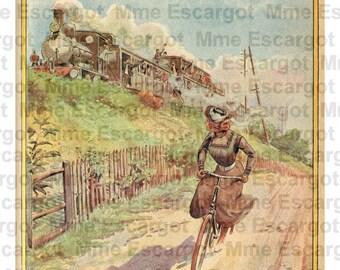 Hirondelle bicycles ad 1910. Digital illustration download - Printable image