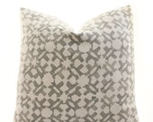 Peter Dunham Textiles Orcha Pillow Cover, Ash, Linen, Natural, Gray, Geometric, Linen, Pattern