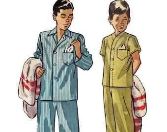Boys V Neck Pajamas Pattern Pyjamas Pattern Pajama Top and Bottoms Vintage 1940s Sewing Pattern Simplicity 2541 Boys Size 6
