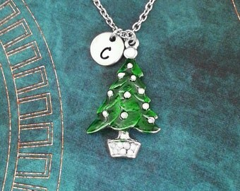Christmas Tree Necklace Evergreen Necklace Green Christmas Tree Jewelry Christmas Necklace Stocking Stuffer Holiday Jewelry Christmas Gift
