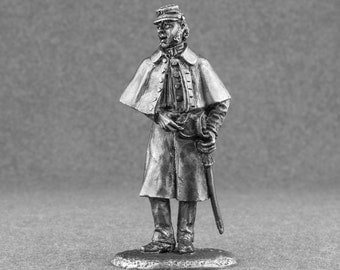Collectible Figures Federal Cavalry Officer American Civil War Toy soldier 54mm 1/32 miniature figurines. Tin sculpture. Metal Free Shipping