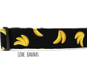 Boy Dog Collar, Girl Dog Collar, Bananas Dog Collar, Funny Dog Collar, Fruit Dog Collar, Food Collar (Upgrade to Metal Buckle or Martingale)