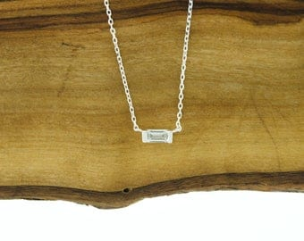 925 Sterling Silver CZ Baguette Necklace