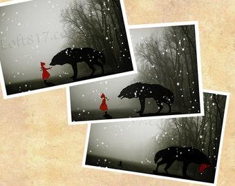 Red riding hood art, little red riding hood art, series of 3 prints