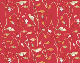 Paprika Red Floral Fabric, Art Gallery Reminisce RMS-1503 Sprouts of Joy Crimson, Bonnie Christine, Quilting Cotton Yardage