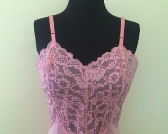 1960's Vintage Vanity Fair Pink Lacy Slip