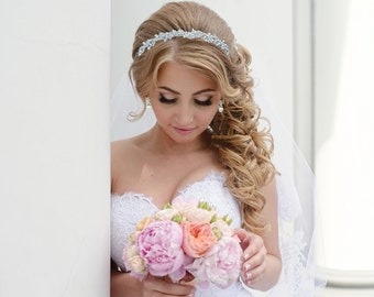 Rhinestone Crystal Pearl bridal headband headpiece, wedding headband, wedding headpiece, rhinestone tiara, crystal bridal headband 210694648