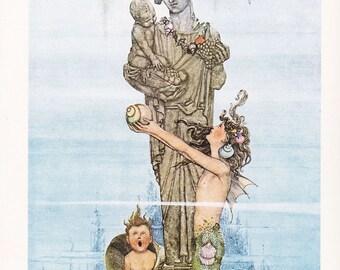 The Little Mermaid Andersen's Fairy Tales William Heath Robinson book illustration vintage illustration 8.5x11.5 in