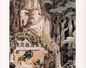 Sleeping Beauty Kay Nielsen Brothers Grimm vintage art nouveau print illustration folk tale fairy tale  8.5x11.5 inches