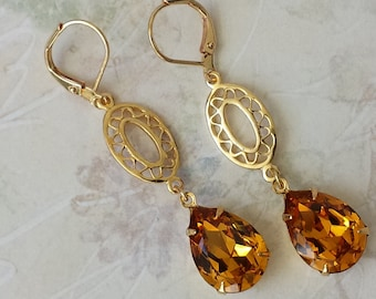 Topaz Crystal Earrings - Retro Earrings - Long Dangle Earrings - Topaz Rhinestone Earrings - Swarovski Drop Earrings - Topaz Earrings
