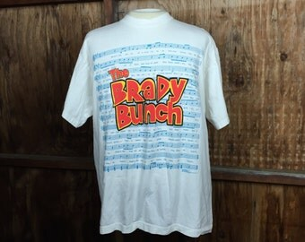 Vintage, VTG, 90's The Brady Bunch T-Shirt X-Large XL White Made in USA Stanley Desantis Tee
