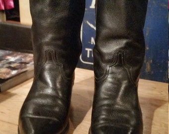 Vintage Code West Womens Black Leather Western Boots