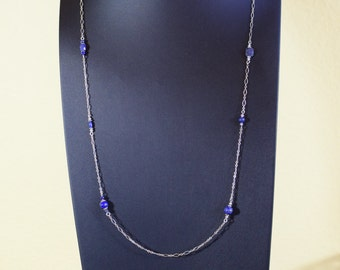 Long sterling silver chain and lapis lazulli necklace with sterling silver beads and Swarovski crystals