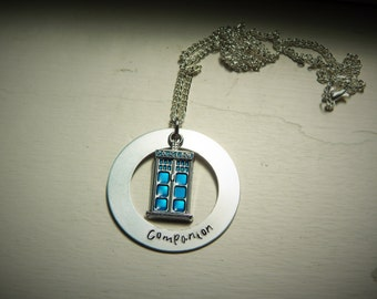 Companion, hand stamped necklace