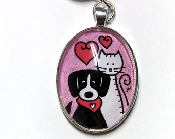 Key cat and dog, brilliant pink, ready-to-go
