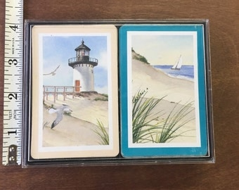 2 Decks of Vintage Playing Cards - Cape Shore Paper Products - Light House Cards & Sail Boat Cards