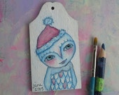 Owl Girl, Christmas ornament, gift tag, mixed media art painting