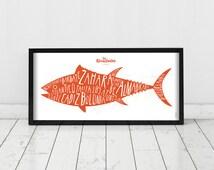 Cadiz. Spain. Poster. Wall decor art. Illustration. Digital print. Tuna. Travel. 19,69 x 9,06 inch