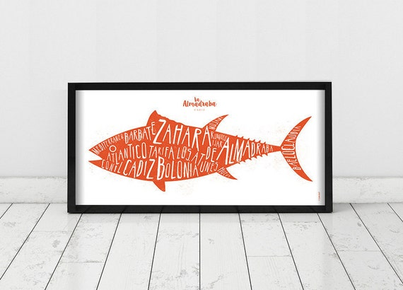 Cadiz. Spain. Poster. Wall decor art. Illustration. Digital print. Tuna. Travel. 19,69 x 9,06 inch